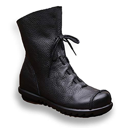 (Women's Genuine Leather Casual Retro Soft Flat Boots Black Fleece Lined 41 - US 9)