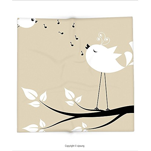 Custom printed Throw Blanket with Valentines Day Flying Birds Decor Birds on a Branch Singing Love Songs Valentine Couple Hope Cream Black Whi Super soft and Cozy Fleece (Halloween Song Hyde)