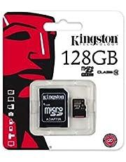 بطاقة الذاكرة كينجستون 128 جيجا مايكرو اس دي اتش سي كلاس 10 مع ادابتر - SDC10/128GB