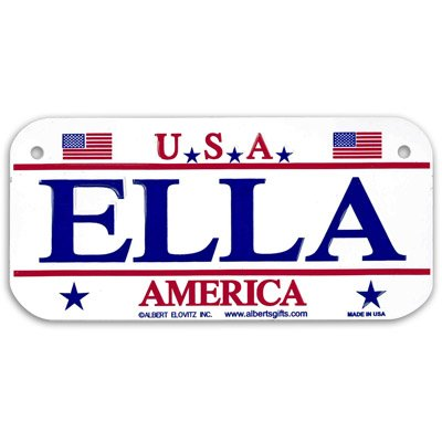 Gift House Ella USA Bike Plate - Made in USA, 3x6 Embossed Aluminum