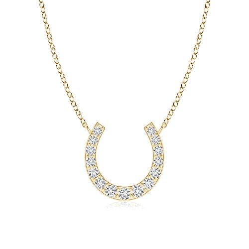 Lab Grown Diamond Horseshoe Pendant Necklace in 14k Yellow Gold
