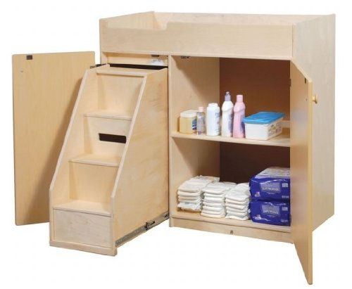 Steffy Wood Products Changing Table with Slide Out Steps