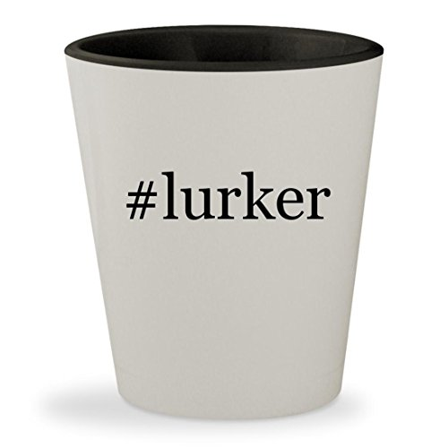 #lurker - Hashtag White Outer & Black Inner Ceramic 1.5oz Shot Glass (Alien Lurker)