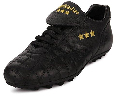Pantofola dOro Scarpa da Calcio Del Duca, Pelle di Vitello, Linguetta Lunga (PC2384-02N) Nero