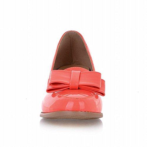 Latasa Womens Bow Tacco Medio Scarpe Mocassini Tacco Medio, Pumps Shoes Watermelon Red