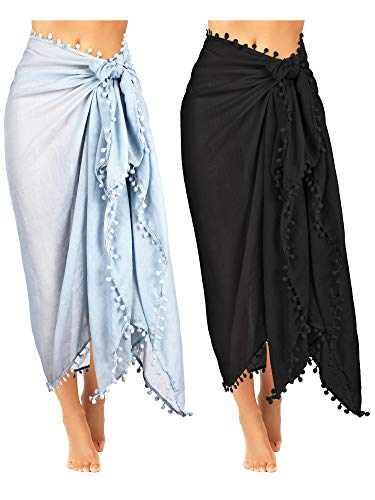 2 Pieces Women Beach Batik Long Sarong Swimsuit Cover up Wrap Pareo with Tassel for Women Girls (Color Set 2) ()