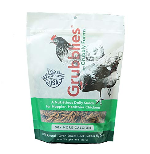 Grubblies - 8 oz. Bag - 50x More Calcium Than Mealworms, USA-Grown Non-GMO Grubs - a Daily Nutritious Snack to Treat Your Chickens - 100% Natural and Oven-Dried for Happy, - Nutritious Treat