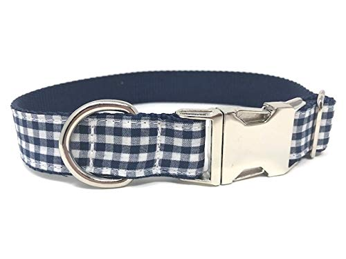Dog Collar for Boys, Navy Blue + White, Plaid, Male, Trendy, Fashion (M 1