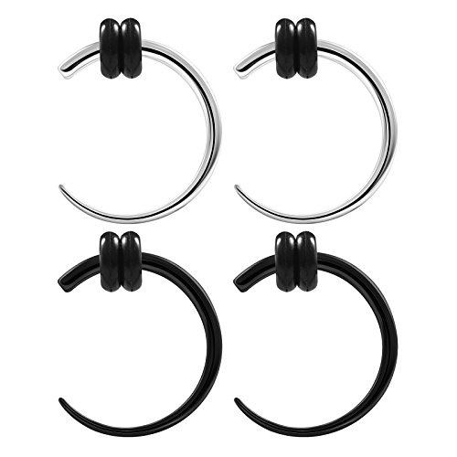 Steel Talon Taper - BIG GAUGES 2 Pairs Surgical Steel 14gauges 1.6 mm Black Anodized Curved Taper Talon Expander Piercing Jewelry Stretcher Ear Earring BG0695