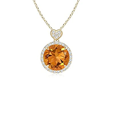Angara Womens Citrine Necklace in White Gold lU6hFKbf
