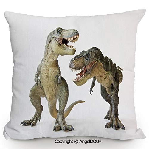 (AngelDOU Fashion Sofa Cotton Linen Throw Pillow Cushion 13.7x13.7 Inch Tyrannosaurus Rex Pair Facing Off Ferocious Creatures Prehistoric Predators Decorative Bed Office car Pillow Customized Accept.I)