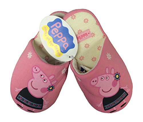 1 Paar Hausschuhe Peppa Pig Mädchen aus Baumwolle, gepolstert, Alter 7-8 Jahre, Pink