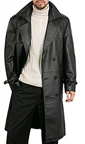 Black Leather Trench Coats - 6
