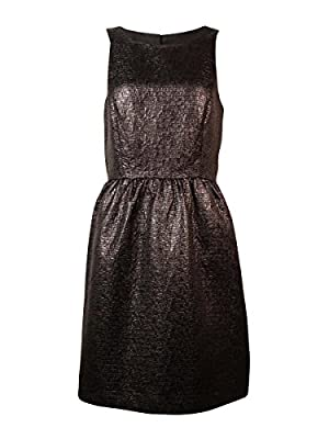 Kensie Womens Shiny Jacquard Sleeveless Back Cutout Dress