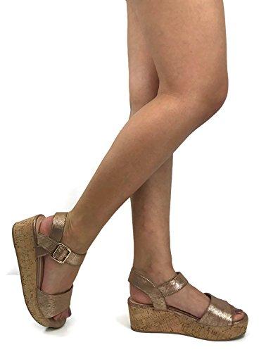 City klassifisert Kvinners Spenne Ankel Strap Kork Plattform Kile Sandal Bronse
