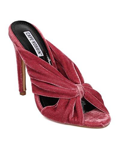 GI86 by Sandal Stiletto Construction Bow Velvet Slip CAPE on Toe Sandal Mauve ROBBIN Women Sandal Peep xSnn8O70