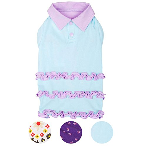 Blueberry Pet Ruffle Polo Cotton Dog Dress, Back Length 16