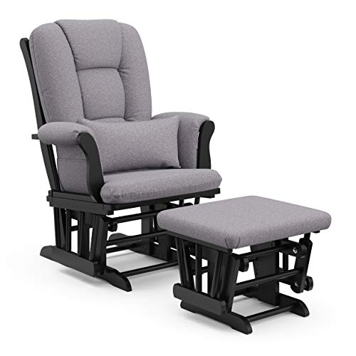 Storkcraft Tuscany Custom Glider and Ottoman with Free Lumbar Pillow, Black Slate Gray Swirl