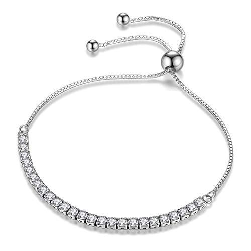 JDGEMSTONE Christmas Adjustable Bracelet Swarovski Crystals Jewellery for Women Anniversary Birthday Girl Girlfriend Wife Daughter Mom Friend Silver Tone 925 Sterling Silver Coupon Bangle