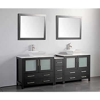 Superior Vanity Art 84 Inch Double Sink Bathroom Vanity Set With Ceramic Top With  Free Mirror VA3136