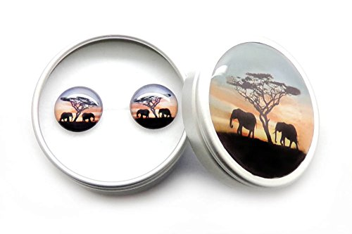 Romantic Vintage Red Black African Elephant 925 Sterling Silver Stud Earrings Girls and Women Gift Nickel Free Ear Studs
