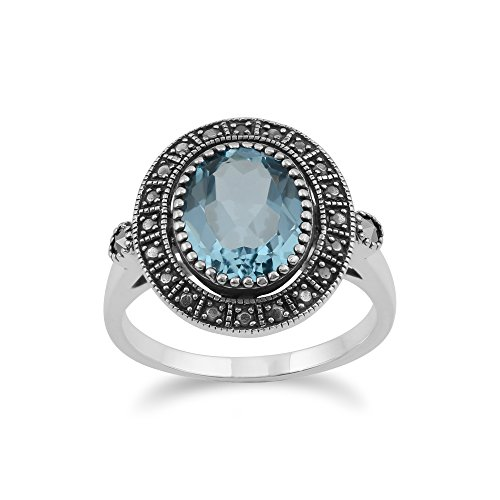 (Gemondo Sterling Silver Blue Topaz & Marcasite Antique Style Cluster Ring)