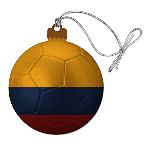 GRAPHICS & MORE Colombia Flag Soccer Ball Futbol Football Wood Christmas Tree Holiday Ornament