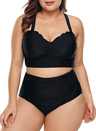 Dearlove Womens Plus Size Strappy Push Up High Waisted Bikini Bathing Suits