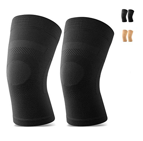 Knee Sleeves, 1 Pair, Lightweight Knee Brace Fit for Men & Women, Knee Compression Sleeves Support for Pain Relief, Joint Pain, Arthritis, Running, Sports, Meniscus Tear, Injury Recovery, Black XXL