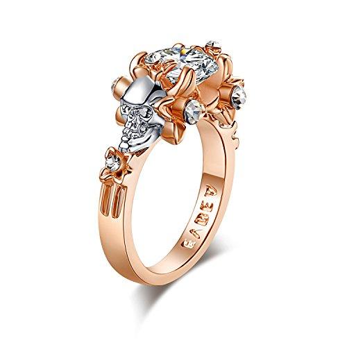 EVBEA Simulated Diamond Engagement Rings Rose Gold Halo CZ Flower Skull Promise Rings