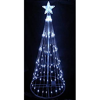 lb international 6 pure white led light show cone christmas tree lighted yard art decoration - Lighted Christmas Tree Yard Decorations