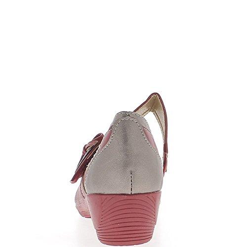 Escarpins compensés rouges bronze confort à large bride talon 4 cm
