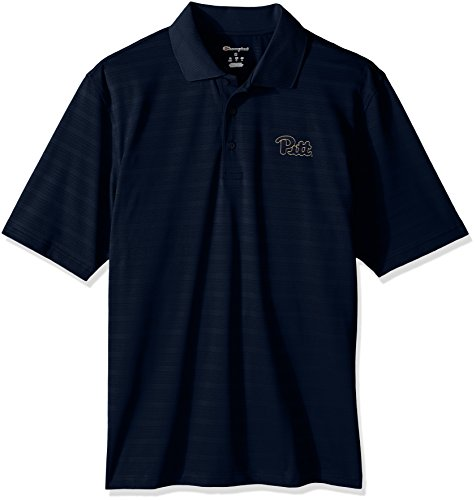 Pittsburgh Panthers Golf - NCAA Pittsburgh Panthers Men's Textured Solid Polo, X-Large, Navy