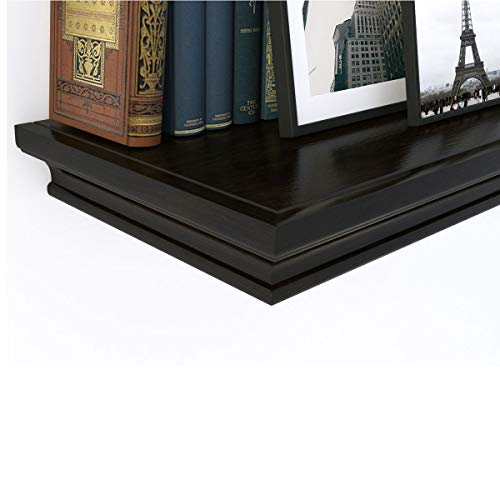 Wide Floating Shelf - Traditional Small Wall Shelf Ledge Crown Molding Design 12 inches Wide, 8 inches deep (Black)