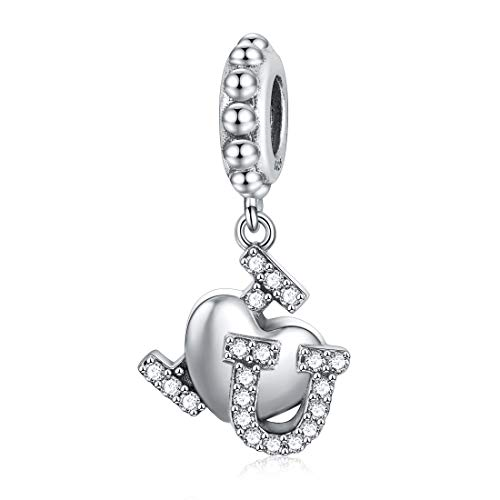 JIAYIQI I Love You Dangle Charm 925 Sterling Silver Heart Charms with 5A Cubic Zirconia Fit Pandora Charm Bracelets & Necklaces from JIAYIQI