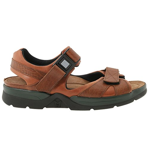 Mephisto Mens Shark Fit Leather Sandals Brown