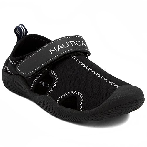 Nautica Kids Kettle Gulf Protective Water Shoe,Closed-Toe Sport Sandal-Solid Black-6 -
