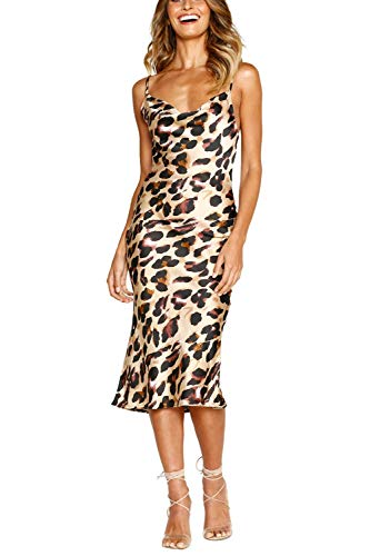 Linsery Women's Satin Spaghetti Strap Rear Zipper Low Neck Polka Dot Club Midi Dress Chestnut ()