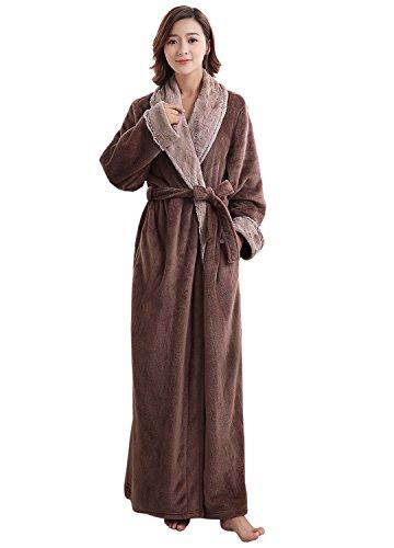 Price comparison product image Artfasion Womens Long Thick Flannel Bathrobe Ultra Soft Plush Microfiber Fleece Robes,  Coffee,  X-Large