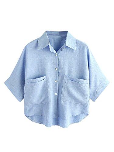 f9dd04fae67dc MAKEMECHIC Women s Summer Half Sleeve Dip Hem Plain Pocket T-Shirt Blouse  Crop Top
