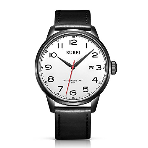 BUREI Men's Date Classic Easy Reader Watch with Black Canvas Leather Strap