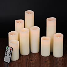 """Bingolife 4"""" 5"""" 6"""" 7"""" 8"""" 9"""" Pillar Flameless Weatherproof Outdoor and Indoor LED Candles with 10-key Remote Control - 2/4/6/8 Hours Timer - Set of 9 (Ivory)"""