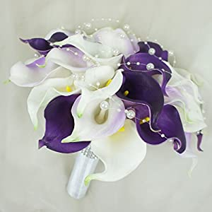 Lily Garden Real Touch Calla Lily Purple and White Flowers Wedding Bouquet 2