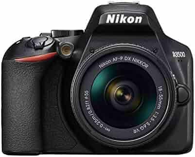 Nikon D3500 24MP DSLR Camera (Full HD, ISO 100-25600, Autofocus System, Guide Mode, LCD, SnapBridge) - AF-P 18/55VR Lens Kit, Case and Book - Nikonists Version