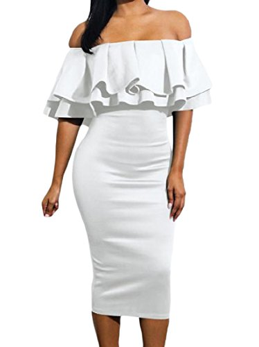 Dress s Colour Midi Comfy Flounced Pure Word Collar Slimming White Women 1qZC5z
