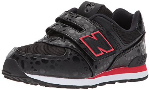 New Balance Girls' 574v1 Disney Hook and Loop Sneaker, Black/red, 8 M US Toddler -