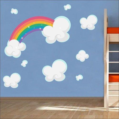Arc-en-ciel Nuages autocollants muraux mural Nursery Stickers muraux pour enfant Multicolore Art 213