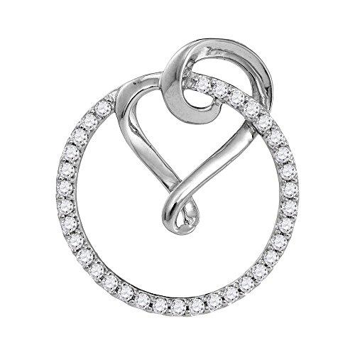 10k Gold Circle Heart Pendant - Roy Rose Jewelry 10K White Gold Ladies Diamond Circle Heart Love Pendant 1/3 Carat tw