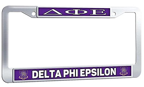 DELTA PHI EPSILON License Plate Frame - Sorority Fraternity With Logo Auto Car License Plate Frame - Stainless Steel Personalized Auto Car License Plate Frame With 2 Holes and Security Screws