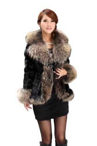 Queenshiny Women's 100% Real Mink Fur Coat Jacket with Raccoon Trim with Super Raccoon Collar-Black-M(8-10) ()